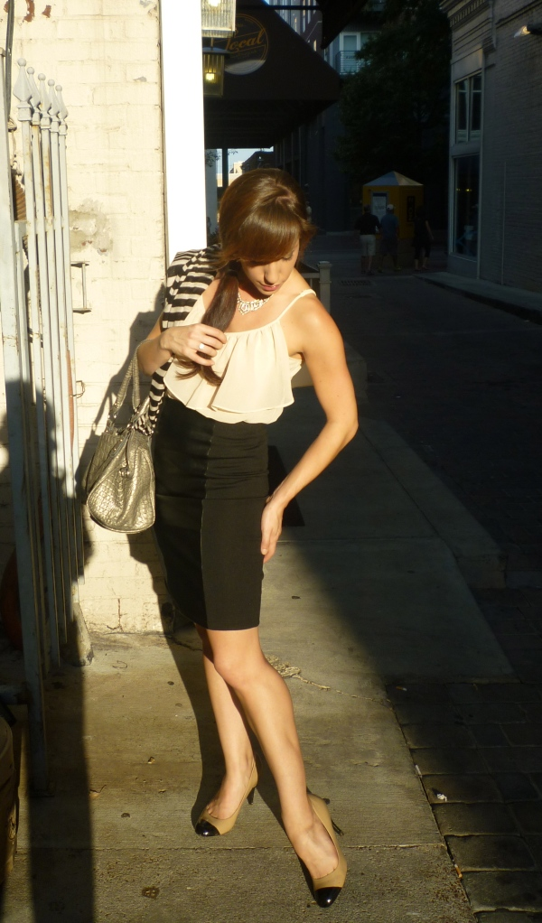 Alley Fashion: Leather Panel Skirt, Crepe Ruffle Top, Black Toe Shoes