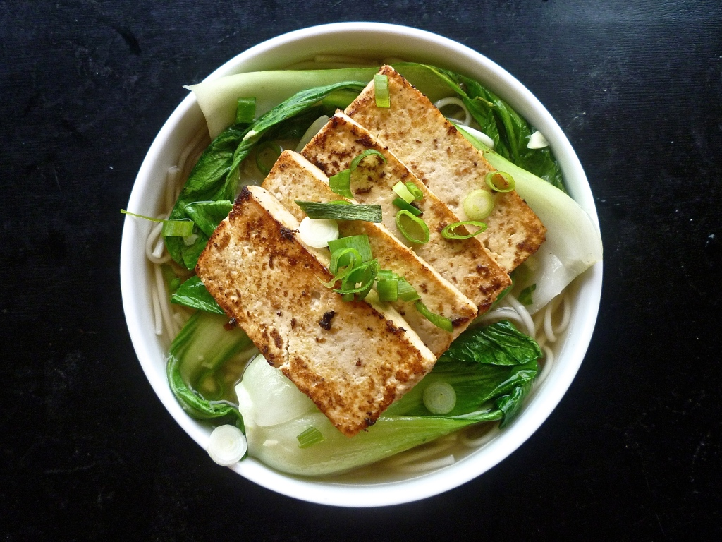 We Solve the Methane Gas Problem, or: Tofu over Udon in Miso-Ginger Broth with Bok Choy